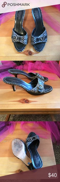 Coach shoes Beautiful Coach signature sandals with short heel. In excellent condition except for the wear on bottom. They've been loved and taken care of. Coach Shoes Heels
