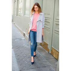Sobretudo estilo trench Soft Grey   La Redoute