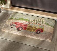 Cute Doormat for Christmas!  Woody Car Doormat | Pottery Barn