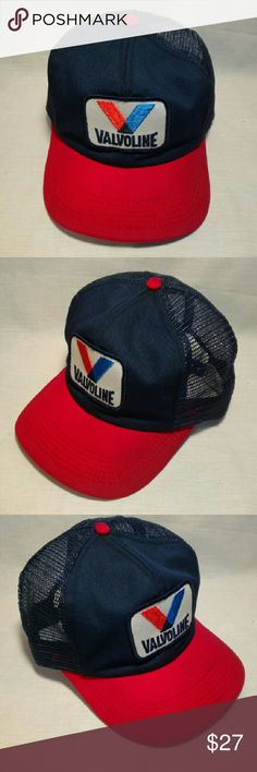 Vtg Snapback Baseball Hat Cap VALVOLINE Red Blue Vintage 80's Valvoline snapback baseball cap. Red, white and blue with embroidered logo patch. No stains, no tears. The original foam had disintegrated so it was removed. The brim has gotten wet but is still stiff and can be shaped. Very clean, colors are bright. Made in USA. Accessories Hats