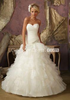 Romantic lace-up sweetheart Ruffles tiers wedding dress