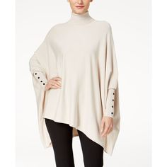 Alfani Turtleneck Poncho Sweater, Created for Macy's ($60) ❤ liked on Polyvore featuring tops, sweaters, polished beige, turtleneck ponchos, oversized sweater, turtleneck poncho sweater, poncho sweater and white poncho
