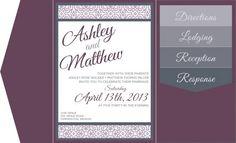 Digital Invite Mockup - Pocketfolds & Inserts :  wedding cards and pockets invitations mockup purple Invitation Mockup Gray Lettering