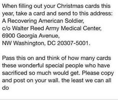 Address for sending Christmas cards to recovering American Soldiers. Look Here, American Soldiers, Things To Know, Fun Things, Simple Things, Awesome Things, Girly Things, Good To Know, Christmas Cards