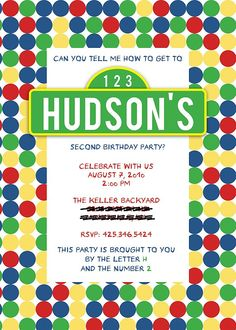 Love this invite!  Especially the part about this party is brought to you by the letter L and number 2.