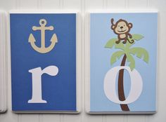 7x9 Personalized Wooden Letter Hanging Plaques, Nojo Ahoy Mate bedding, name or word for children's room and nursery on Etsy, $17.00