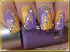 easy flowers nail art design in purple and yellow. But would like in other colors. Purple Nail Designs, Flower Nail Designs, Flower Nail Art, Beautiful Nail Designs, Beautiful Nail Art, Cool Nail Designs, Tape Nail Art, Shellac Nail Art, Nail Polish