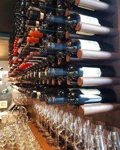 Wineshelves of walnut. Restaurant NOI vagane-viste.no