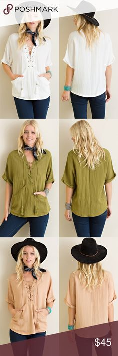 Lace Up Short Sleeve Top Lace up short sleeve top. Available in olive, mocha and Ivory. This listing is for the IVORY. NO TRADES DO NOT BOTHER ASKING. Bare Anthology Tops Blouses