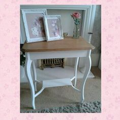 Lovely shabby chic solid oak console/side table stripped,painted and lightly distressed top has been stripped and waxed to see the lovely wood grain x