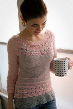 Whisper Stripe Pullover by Michele Rose Orne mods twoceeveeandme by knittedblissJC