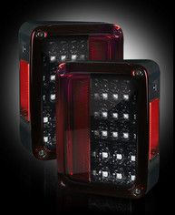 RECON Part # 264234RBK Jeep 07-15 JK Wrangler LED Tail lights - Red Smoked Lens