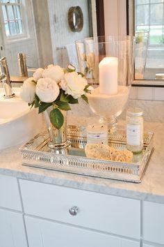 Bathroom vanity tray decor bathroom vanity tray ideas for organizing in a s Bathroom Counter Organization, Bathroom Counter Decor, Bathroom Ideas, Organization Hacks, Small Bathroom, Master Bathroom, Bathroom Candles, Rental Bathroom, Bathroom Renovations