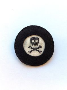 Black skull embroidery brooch by Gluckhandmade on Etsy, $8.00