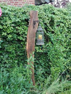 Garten Laterne aus Eichen Brett