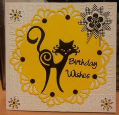 Tattered Lace Cat Card Yellow White and Black