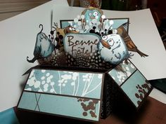 Pop-up box card I did for a friends birthday. Love this old Basic Gray paper and the Stampers Anonymous/Tim Holtz-Bird Crazy stamps.