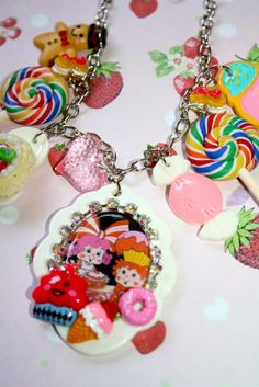 Candyland Kids Charm Necklace Candy Cake Taffy Kawaii Ice cream Silver accents So kitschy and cute