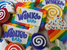 Custom Cookies, Cupcakes and Cake: Willy Wonka party decorated cookies