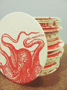 4 crazy orange Gocco screenprinted octopus by heatherjeany