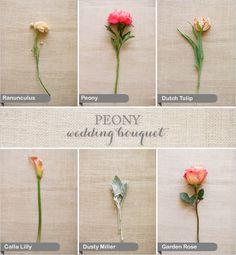Peony wedding bouquet flowers