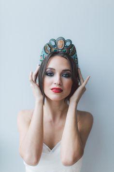 Rusina Headpiece, Necklace by Maria Kosheleva for OffwhiteStudio. Wedding Headband, Bridal Headband, Wedding Accessories, Bridal Headpiece by OffwhiteStudio on Etsy