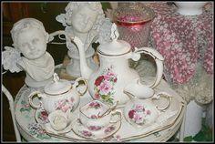 Tea Set on a Vingtage Round Tea Cart by Sherry's Rose Cottage, via Flickr