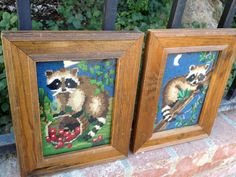 Pair of Framed Needlepoint Raccoons by Trouvaillestore on Etsy #trouvaille
