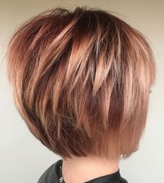 60 Best Short Bob Haircuts and Hairstyles for Women Rose Gold Bob With Choppy Layers Bobs For Thin Hair, Haircut For Thick Hair, Short Hair With Layers, Short Hair Cuts For Women, Short Hair Styles, Thick Hair Haircuts, Angled Bob With Layers, Hair Cuts For Over 50, Bun Styles