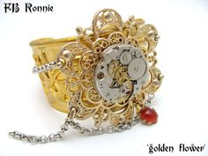 Steampunk Golden Flower Handcuff Watch Movement by FBRonnie