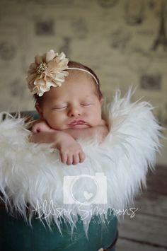Newborn photography, baby girl, flower headband, ASP, head in hands, pose idea, faux sheepskin, antique bucket, ice cream maker, Paris backdrop, Allison Simmons Photography, sweet, beautiful