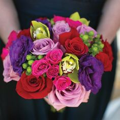 Brightly Colored Bridesmaid Bouquets