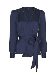 Navy Pleated Wrap Blouse. I love wrap style blouses, but SO hard to find!