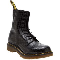DR. MARTENS 'Pina' boot ($130) ❤ liked on Polyvore featuring shoes, boots, ankle booties, black boots, short boots, round toe boots, pattern boots and black round toe boots