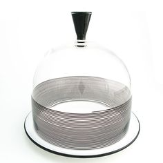 Black Spiral Cloche. Glass domed plate for treats and bonbons!