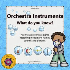 Looking for an interactive game to reinforce naming the orchestra instruments in addition to the sound the instrument produces with your students in music? They will love watching the bubbles float across the page!