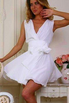 2015 Women Summer Novelty Dresses Party pleated Dresses Gorgeously V-Neck White Sweet Bow Belt Chiffon Skater Dress White Skater Dresses, Sexy Dresses, Fashion Dresses, Pleated Dresses, Sleeveless Dresses, Mini Dresses, Fashion Styles, White Chiffon, Chiffon Skirt