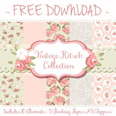 Here is our first FREE artwork pack from the Tattered Lace Blog! Go to http://blog.tatteredlace.co.uk/ to download! The download includes 5 backing papers with 5 co-coordinating toppers, in pretty vintage floral designs.