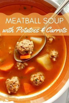 A family favorite, this gluten-free and dairy-free meatball soup is perfect for those with dietary restrictions. A combination of cubed potatoes and sliced carrots add a hearty vegetable component to this comforting soup. Canned Potatoes, Carrots And Potatoes, Stuffed Pepper Soup, Stuffed Peppers, Meat Recipes, Cooking Recipes, Yummy Recipes, Meatball Soup, Us Foods