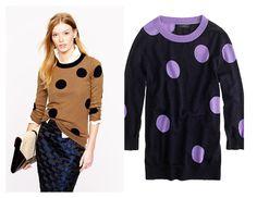 J Crew Tipi Polka Dot Merino Wool Sweater Navy Purple Sz XS #JCrew #Crewneck