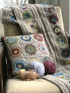 crochet blanket and pillow