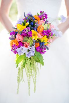 Colourful Chic Outdoor Spring Texas Wedding Bridal Cascading Bouquet Multi Coloured http://www.coryryan.com/
