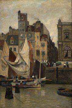 huariqueje:    High Tide, Le Havre  - Fritz Thaulow 1878 Norwegian 1847-1906
