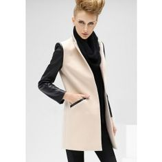 Posh Girl Winter White Leather Trim Jacket