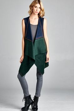 Sleeveless fleece color block cardigan Fleece Cardigan, Online Fashion Boutique, Online Boutiques, Overalls, Normcore, Clothes For Women, Stitches, Pants, Color