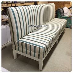 Exceptional Wonderful Banquette Bench For Home Furniture Ideas: Striped Banquette Bench  With White Wood Legs For Home Furniture Ideas