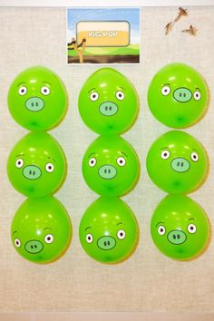 Angry Bird Pig Pop Game: A classic carnival game, balloon darts are always popular with older kids. Add some pig faces to lime green balloons and created a fun 'pig pop'.