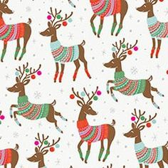This holiday wrap features Santa's reindeer wearing Christmas sweaters dashing through silver snow on a white background. A festive design kids of all ages will love...especially when the gift is from