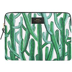 Wouf Wild Cactus Laptop Case (215 RON) ❤ liked on Polyvore featuring accessories, tech accessories, green, laptop zip case, laptop case, laptop sleeve cases and padded laptop case