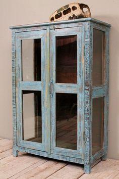 Vintage Distressed Blue Paint Rustic Glass Storage Kitchen Bathroom Cabinet on Etsy, $449.00
